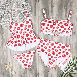 Other - Mommy & Me Kiss Print Swim Suits